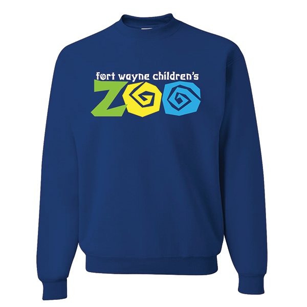 YOUTH CREW NECK SWEATSHIRT FORT WAYNE ZOO LOGO ROYAL