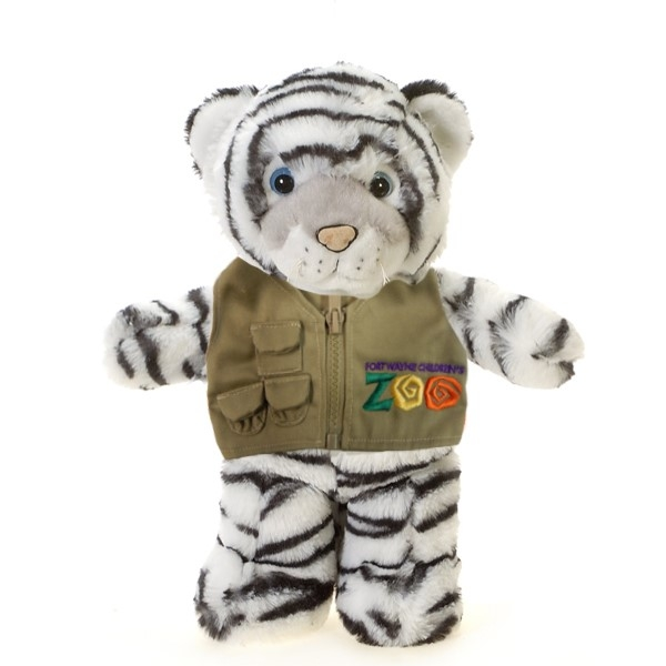 WHITE TIGER PLUSH WITH GREAT PLAINS CHILDREN'S ZOO VEST